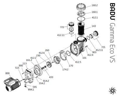 Запасные части к насосам Badu Gamma Eco VS